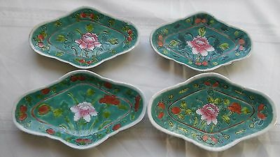 4 Chinese Early 20th Century Green Porcelain Plates