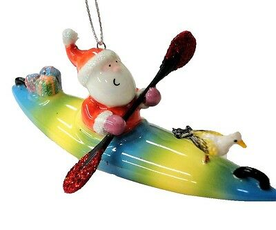 Santa on a Kayak Christmas Ornament - Red Glitter Paddles, Gifts & Seagull
