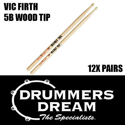 Vic Firth 5B Wood Tip Drumsticks 12 Pairs American Hickory Classic Drum Sticks