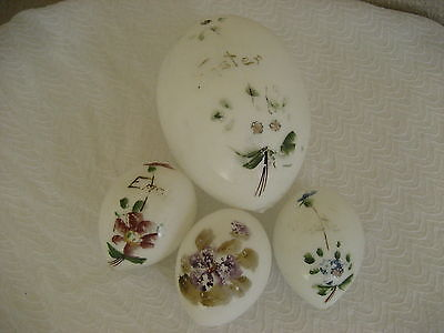 Victorian Hand Blown Milk Glass Hand Painted Floral Motif Easter Eggs Group 4