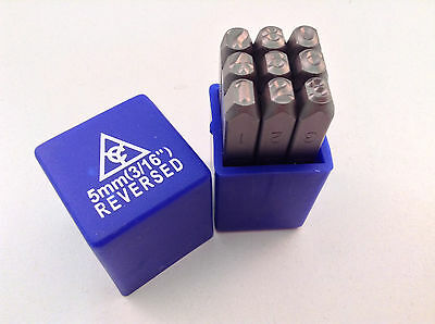 "Reversed 9pc 3/16"" 5mm Steel Number Stamp Punch Die Set"