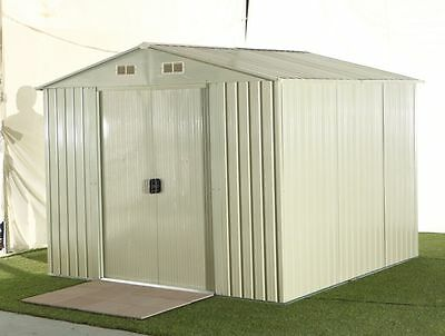 NEW STEEL OUTDOOR GARDEN STORAGE SHED - BEIGE COLOUR - 257 x 205 x 202cm