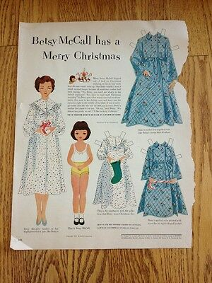 Vtg Betsy McCall Has A Merry Christmas Paper Doll Page 1951 Uncut Original