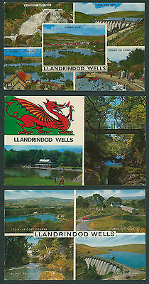 Llandrindod Wells. 3 Multiview cards. RADNORSHIRE - POWYS