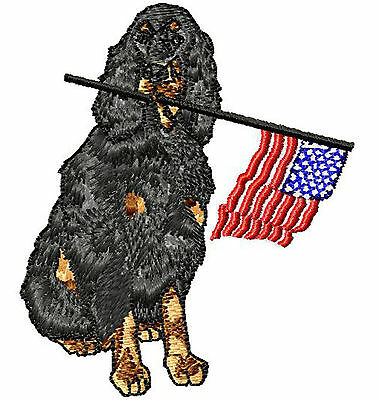 Gordon Setter with flag Embroidery Patch