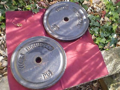Pair of 25lbs.York Barbell Weights Total-50lbs.