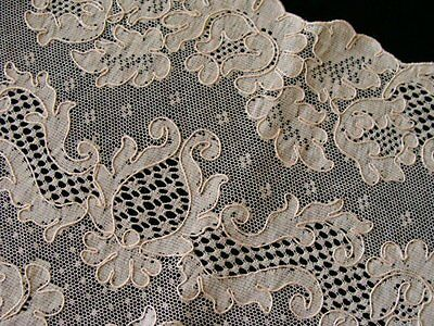 "WOW UNUSED French ALENCON Lace Runner HUGE 54"" Ecru PRISTINE France TAG Vintage"