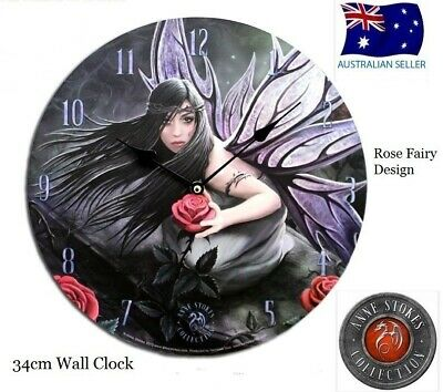 Original Anne Stokes Large Wall Clock Rose Fairy New In Box 34Cm