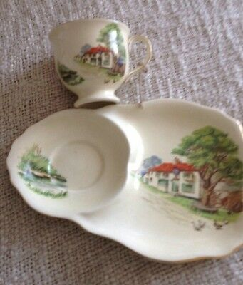 Vintage Royal Winton Grimwades China Tennis Cup & Saucer Biscuit Plate