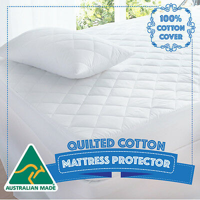 S/KS/D/Q/K Size Cotton Quilted Aus Made Fully Fitted Mattress Protector/Topper