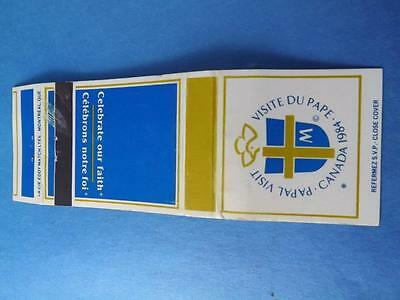 Canada Pope Papal Visit 1984 Celebrate Our Faith Vintage Matchbook