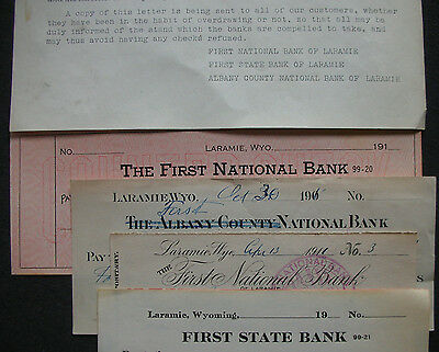Controller Of Currency Letter 1915 With 4 Checks 1900's Laramie, Wyoming
