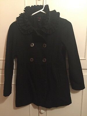 Black Double Breasted Girls Coat With Embellished Collar By Next For 9-10 Years