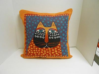 "Laurel Burch DOTTED CAT 17"" Square Tapestry Throw Pillow New with Tag"