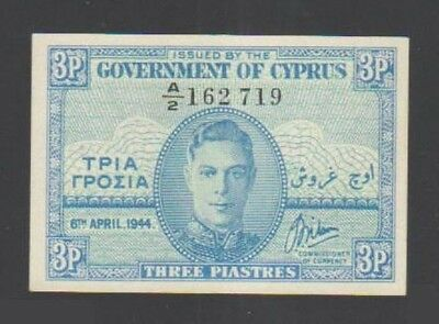 """""""UNC"""" 1944 Cyprus 3 Piastres P-28a, Scan-#011"""