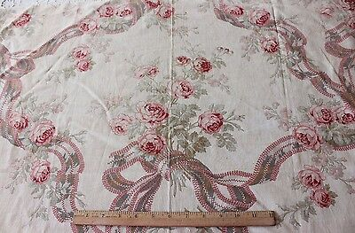Antique French c1870 Victorian Roses & Ribbons Printed Home Dec Textile Fabric