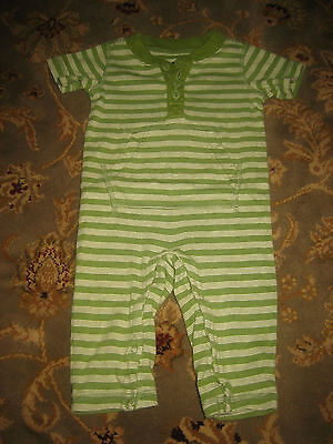 Baby Boy's TEA COLLECTION Green/White Striped Knit Romper - Size 0-3 Months