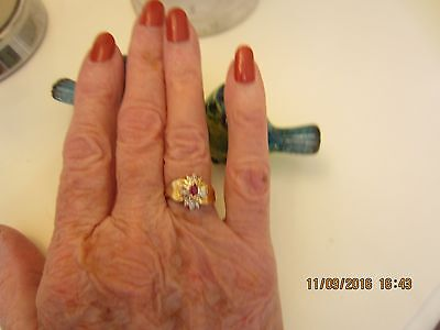 10ct Diamond and Ruby Ring  - yellow gold