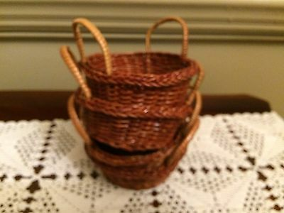 Set of 2 small woven brown Craft Baskets with handles New