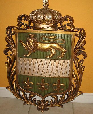 Vintage Burwood Prod. Co 4569 French Lily and Lion Shield Wall Plaque Hanging