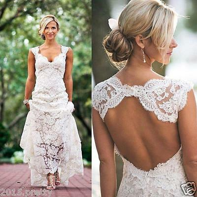 Beach Wedding Dress White/Ivory Lace Bridal Gowns Spring Custom Made Size 2-26W