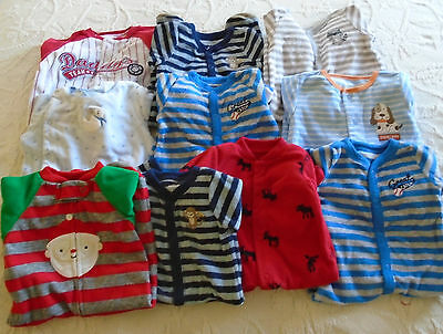 Used 10 Pc. Lot Of Newborn Baby Boy Clothes/sleepers 0-3 Months Euc