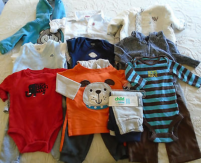 Used 21 Pc. Lot Of Baby Boy Clothes 0-6 Months Euc