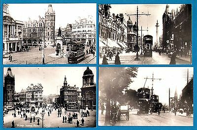 Postcard size Tram Photos - City of Hull Tramways - 4 Street Scenes: early 1900s