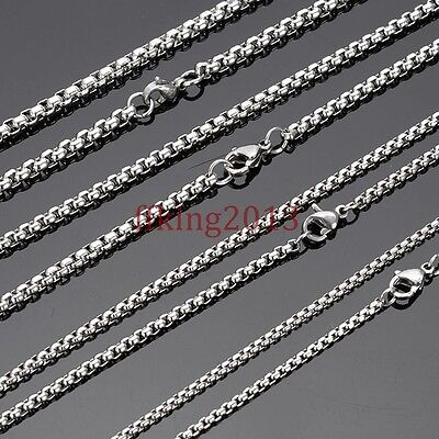 """18-30"""" Wholesale Lots Silver Stainless Steel Box Chain Necklace Hot Sell 2mm-4mm"""