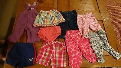 Lot of 9 Infant/Baby Girl Shorts,Skirts,Leggings, Pants,Overalls-Size 3-6 Months