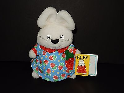 1997 Eden Max and Ruby Rosemary Wells Plush Strawberry Dress Bunny Rabbit Doll