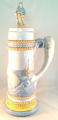 Vintage Huge Homemade Hand Painted Whale Stein Nautical Decor Blue Yellow Ship