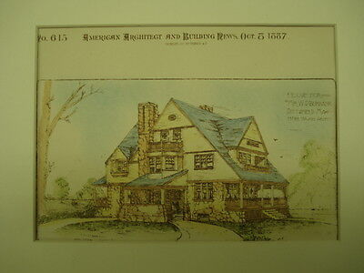 House for Mr. W. D. Burbank, Pittsfield, MA, 1887, Original Plan