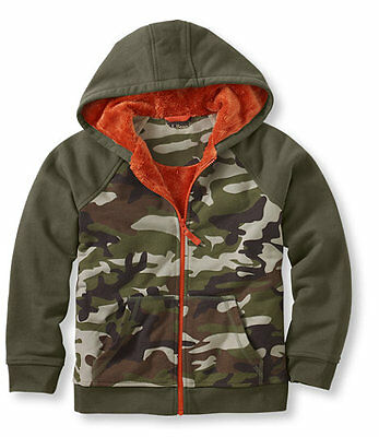 NWT $44.05! L.L.Bean Boys Fleece-Lined Camp Hoodie, Colorblock - Size M 10 - 12