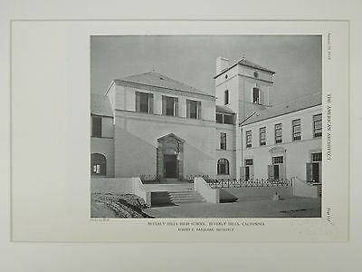 Beverly Hills High School, Beverly Hills, CA, 1929, Lithograph