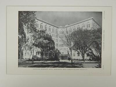 Exterior, Groveland Apartment Hotel, Minneapolis, MN, 1929, Lithograph