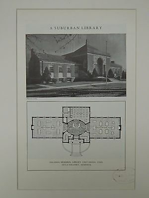 Exterior, Hagaman Memorial Library, East Haven, CT, 1929, Lithograph