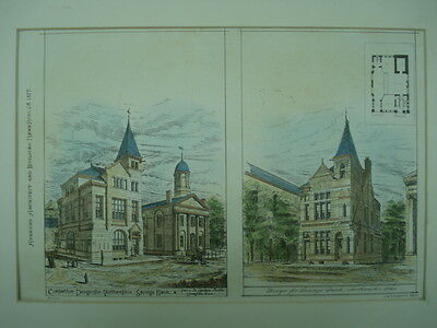 Design for Savings Bank, Northampton, MA, 1877, Original Plan