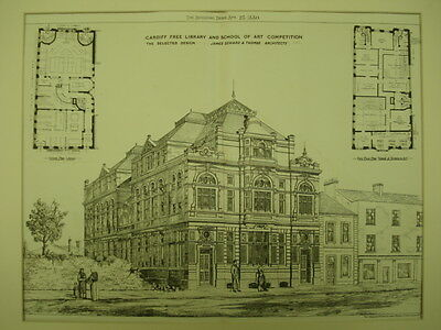 Design, Free Library and School of Art Competition, Cardiff, UK, 1880, Orig.