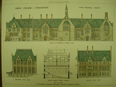 Owens College, Manchester, UK, 1874, Original Plan