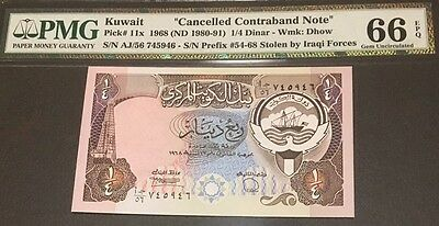 Kuwait Banknote 1/4 Dinar (1980-91). Graded By PMG (66) Uncirculated.