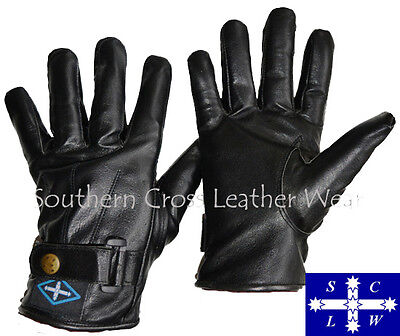 Full Finger Leather Motorcycle Gloves With Snap Button