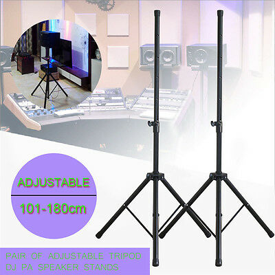 Pair of Heavy Duty Tripod DJ PA Speaker Stands Adjustable Height + Carry Bag NEW