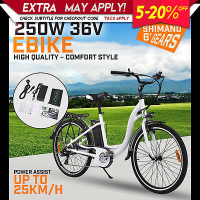 NEW Topgun EBIKE 250W 36V Electric Bicycle Unisex Lithium Ion Battery City White