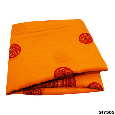Vintage Traditional Sari Bandhani Printed Indian Silk Blend Yellow Saree Si7505