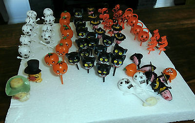 Vtg Lot 55+ Hong Kong Plastic spun Cotton Halloween Cake Toppers cats witches
