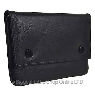 NEW Great QUALITY Contrast Lined Black Leather Rolling Tobacco Pouch by Golunski