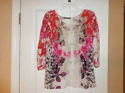 NIC+ZOE WOMEN'S KNIT TOP Sz LARGE MULTI-COLOR 3/4 SLEEVE ROUND NECK NEW NO TAGS