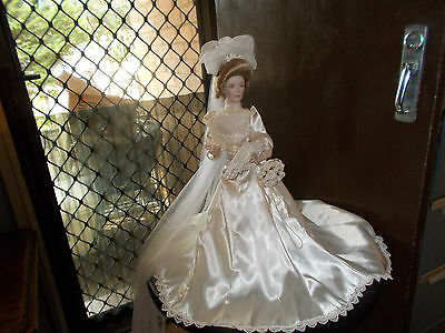 "Franklin Heirloom Mint Gibson Porcelain 22"" Bride Doll."