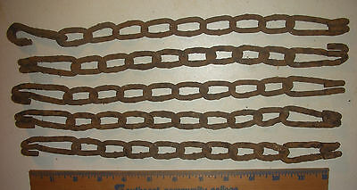5 Crusty Rusty Iron Chain Piece Plant Hanger Farm Tool Vintage Garden Decor ata